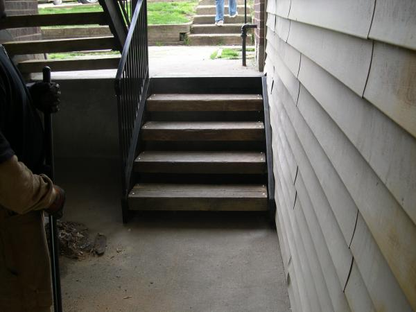 Smaller Stringer replacement reused handrails and treads